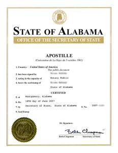 AlabamianApostilleOfTheHague